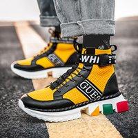 Yeni Varış Sarı Mikrofiber Erkek Sneakers Rahat Hiphop Çorap Ayakkabı Rahat Erkekler Lüks Yüksek Üst Sneakers Zapatillas Fasion