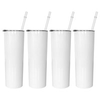 20oz Sublimation Mugs Straight Tumblers Blanks White Stainless Steel Tapered Slim DIY Cups Vacuum Insulated Car Coffee