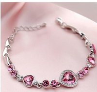 2021 Elegant Women Bracelet 925 Silver Topaz Heart Bracelet Chain 21cm Silver Crystal Diamond Chain Womens Fashion