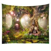 판타지 식물 마법의 숲 태피스 트리 큰 플란넬 생명 나무 엘프 폭포 스트림 동화 벽 아트 매달려