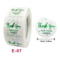 3000 قطع 2.5 سنتيمتر لاصق ملصقات 500pcs / لفة شفافة التنين البرنز الأخضر شكرا لك على طلبك ملصقا تسمية ختم هدية علامات التعبئة والتغليف هدية