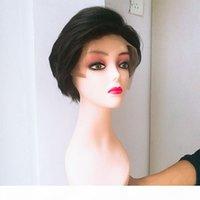 Neue ankunft brasilianer gerade kurze menschliche haare spitze frontperücken brasilianische kurze menschliche Haarperücken für schwarze Frauen Pixie Perücken mit Pony
