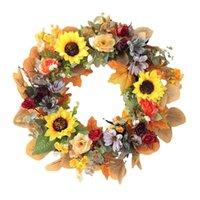 الزهور الزهور أكاليل الخريف عباد الشمس اكليلا من الباب الأمامي جدار نافذة الزفاف حزب مزرعة المنزل عيد الميلاد عيد الشكر الديكور