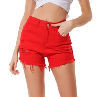 Women's Jeans 2021 European And American Summer Red Edge Wash Loose Denim Shorts