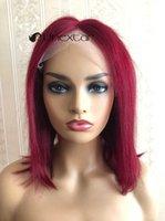 NUTEXTAR 99J / Bourgogne Brésilien Heart Head Hair Perruques 13x5 Dentelle Perruque avant Brésilienne180% pour les femmes