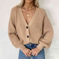 Women's Knitted Cardigans Sweater Fashion Long Sleeve Loose Coat Autumn Winter Casual Button Thick V Neck Solid Female Tops 210918