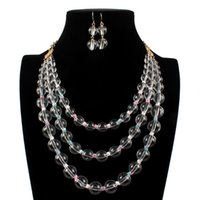 Earrings & Necklace Fashion Exaggerated Acrylic Round Beads Multi-layer Golden Chain And Parity Jewelry Sets For Woman