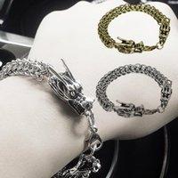 Double Dragon Head Men Bracelet For Man Friendship Mens Bracelets Punk Rock Stainless Steel Male Jewelry Gift Charm