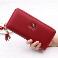 Wallets 2021 Style WOMEN'S Wallet Long Fashion Clutch Bag Japanese And Korean-Style Zip Embossed Leather Leaves Mobile Phone