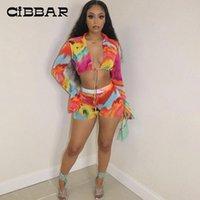 Renkli Baskı Tatil Iki Parçalı Setleri Kadınlar Flare Uzun Kollu Mahsul Tops + Bodycon Kısa Pantolon Suits Yaz Plaj Partywear Kadın Eşofman