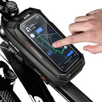WILD MAN Waterproof Bicycle Bag Mountain Bike Touch Screen Front Frame Storage Bags Tube Hard Shell Pannier Pouch Cycling Bags