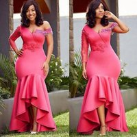 Pink Evening Dresses Mermaid One Shoulder 3 4 Long Sleeves Beading Tassle Plus Size Custom Made High Low Dubai Prom Party Gown Vestidos