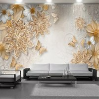 Classic 3d Luxurious Wallpaper Wall Papers Exquisite Diamond Flower Mural Living Room Bedroom Home Decor Painting Wallpapers