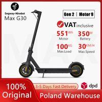 EU STOCKING ORIGINAL NineBot Max G30 Smart Electric Scooter La dernière version KickCooter Skateboard de frein double pliable avec application