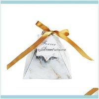 Hediye Olay Şenlikli Malzemeleri Ev Gardengift Wrap 100 adet / grup Avrupa Pembe Beyaz Mermer Üçgen Piramit Düğün Şeker Kutuları Bombo Şekeri