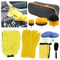 Car Sponge Wash Cleaning Tool Kit Tire Wheel Brush Chenille Microfiber Towel Cloths With Storage Bag 8pcs
