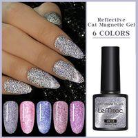 Nail Gel LEMOOC Holo Reflective Polish Cat Magnetic Glitter Effect Soak Off UV Laser Bling Sequins Lacquers