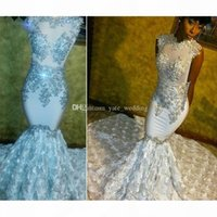 Shining Beading Floral White Mermaid Prom Dresses Jewel Neck Sleeveless Appliques Black Girls Pageant Dresses Formal Evening Gowns