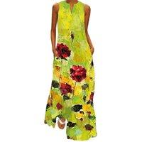 Vestidos casuais femininos 2021 floral impressão verde vestido mulheres longas plus tamanho verão mulher sem mangas meninas praia maxi