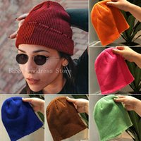 Womens Warm Winter Autumn Women Wool Knit Cuff Beanie Watch Cap Girls Skull Hats for Female Accessories