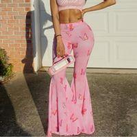 Summer Sexy Bell Skinny Mujer Pantalón Pantalón inferior Mariposa Impreso Alto Cintura Flare Pierna amplia