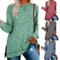 Autumn   Winter 2021 New Solid Color Sweater Cross Loose Round Neck Pullover Side Split Top