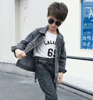 kids Jeans Coat Jackets Boys Spring Autumn Stretch Short Denim Outerwear Clothes Turn-down Collar Loose Jacket