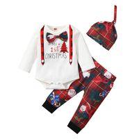 Christmas Newborn Outfits Baby Clothing Sets Boys Clothes Infant Suits Cotton Long-Sleeved Plaid Print Romper Pants Hats 3Pcs B8467