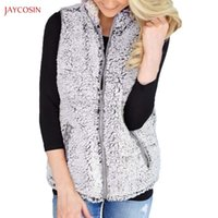 Women's Jackets Jaycosin Clothes Girls Winter Warm Vest Lady Casual Faux Fur Zipper Up Sherpa Fashion Jacket Women Coat Outwear Ch