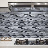 Art3D 30x30cm Peel and Stick Backsplash Fliesen 3D Wandaufkleber Grau-Weiß Selbstklebende Wasserdicht Für Küche Badezimmer, Tapeten (10 stücke)