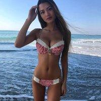 Mayo Dantel Patchwork Kadın Bikini Set Seksi Giyim Kayışı Halter Çiçek Yaz Plaj Mayo Mayo