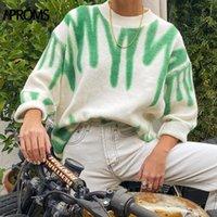 Женские свитера Практики Зеленые полосы Печать Негабаритные Женщины Зимняя Корейская Мода Длинные Пуловеры Рождественские Рождественские Улица Свободная Верхняя одежда 2021