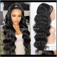 Ponytails Extensions Products Drop Delivery 2021 Long Wavy Hair Synthetic Dstring Clip In Hairpiece Wave Ponytail For Black Women B0Vhi