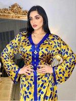 Vêtements ethniques arabe abaya jalabiya maxi robe pour femmes tresse garniture marocaine Duai Duai Turquie Musulman Robe Lâche Jaune