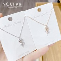 Chains 14k Real Gold Plated Flower Necklace Shining Bling Zircon Women Clavicle Chain Elegant Charm Wedding Pendant Jewelry