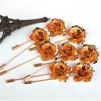 Golden Camellias Женщины Мужчины Брошь Европа Америка Стиль Pins Свадебная вечеринка Элегантные Ювелирные Изделия Фестиваль Подарок Для Пары Броши