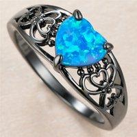 Модный женский синий опал каменное кольцо очарование 14kt черное золото полые обручальные кольца для женщин роскошные невесты любовь сердца участие