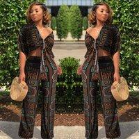 Jenyage 기하학적 인쇄 여성 의류 세트 Tracksuit 아프리카 패션 캐주얼 파티 스트레치 넓은 다리 두 조각 바지 Jumpsuit 211022