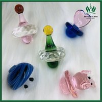 Coloful Glass Carb Cap Dome for Quartz Banger UFO Shape Thermal 14mm Banger Nails Dab Oil Rigs Glass Bongs Water Pipes