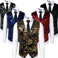 Men's Vests Gold Steampunk Vest Men Suit Gilet Homme Wedding Sleeveless Slim Fit Paisley Floral Dress For Single Buttons Waistcoat