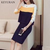 Moda Kadınlar Kintting Üstleri + Etekler Takım Elbise İki Adet Set Yeni Ince Patchwork Örme Kazak Etek Seti Kadın Giyim Sonbahar 210407