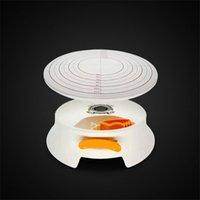 Plástico Bolo Plástico Decoração Plataforma giratória com Fechadura Clear Scale Tool Não Slip Silicone Pé Baking Pastelaria Ferramentas