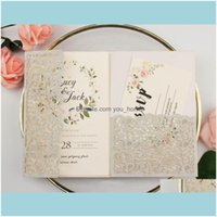 Greeting Event Festive Party Supplies Home & Garden50Pcs Pocketfold Laser Cut Lace Sier Glitter Paper Wedding Invitation Cards Trifold Pocke