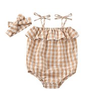 Newborn Rompers Baby Bodysuits Girls Clothes Girl Dress Plaid Jumpsuit Summer Cotton Sister Infant One Piece Clothing Headbands 2Pcs Sets B7197