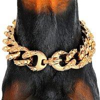 Na moda Impresso Pet Collar Cadeia Aço Inoxidável Banhado Ouro Colares Dobrerman Bulldog Pug Pug Supplies