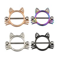 Cat Breast Piercing Jewelry Stainless Steel Nipple Rings Bar Shield Cover Barbell Adult for Women Sexy Piercings