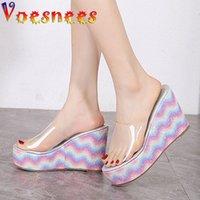 Voesnees Women Slippers Transparent PVC Shining Rainbow Waterproof Platform Wedges High Heel Shoes Summer 10CM Sandals 210514