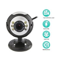 Webcams USB Video Web Camera Six Lights Night Vision Drive-free Clip Computer Webcam With Microphone For PC Laptop