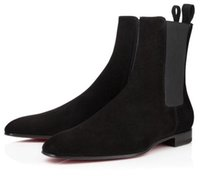 Elegant Perfect Men Red Bottom Samson Boots Suede Leather Square Toe Men's Ankle Boot Reds Soles Melon Motorcycle Ankles Booty EU38-46