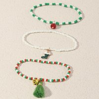 Beaded, Strands Christmas Decoration Gift Small Ornaments Cute Cartoon Dripping Oil Boots Bell Bracelet Rice Bead
